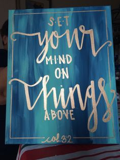 Hand Lettered Bible Verse Canvas Painting Canvas Wall Hanging Sign Blue &…