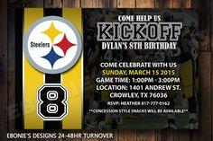 Pittsburgh Steelers baby shower or Digital Birthday Invitation. NFL Football Party Invitation. by EboniesDesigns on Etsy