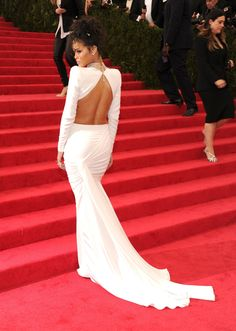 Rihanna Brings a Healthy Dose of Midriff to the Met Gala Red Carpet. Back shot