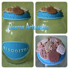 Pote de vidro decorado com biscuit
