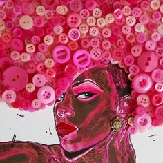 Pink punk button head art 💗💗 #kellyrowland #punk #art #artoftheday #dailyart #arts #artsy #artlovers #afroart #throwback #popart