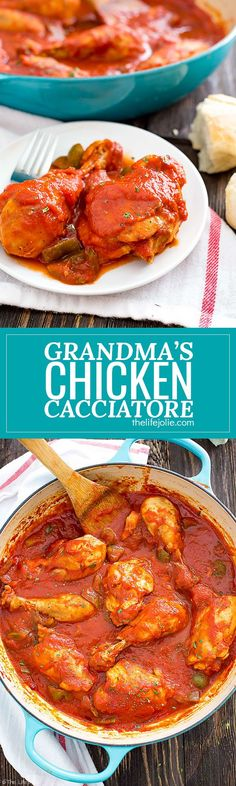 Grandma's Easy Chicken Cacciatore recipe is authentic and delicious! This classic dish is simple to make with accessible ingredients like tomato sauce, peppers, garlic and chicken. It's also pretty healthy and goes great with pasta or a big hunk of crusty Italian bread! #ad