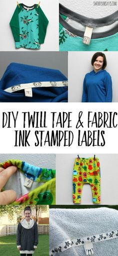 Twill Tape & Fabric Ink Stamped DIY Labels - see how to make your own custom labels for sewing projects with this inexpensive trick! #sewing