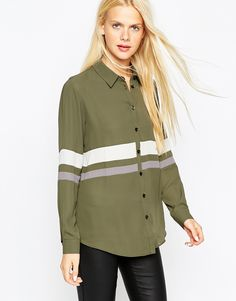 color block blouse in army green