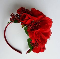 Spring Racing Floral Headband Red Roses with Berries Floral