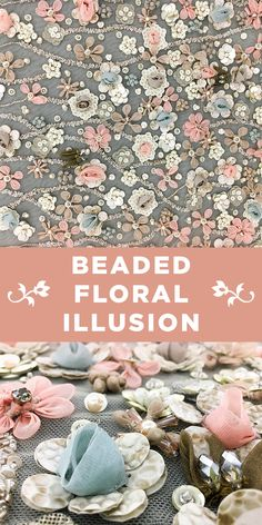 Pastel Pink and Blue Sequinned and Beaded Floral Illusion