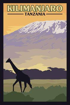 Kilimanjaro Tanzania Vintage Travel Poster