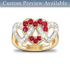 Love's Embrace Personalized Ring. Two diamond hearts are embraced by a 3rd heart set with 10 genuine rubies. 24K gold-plated, solid sterling silver. Two names engraved FREE, gift box.