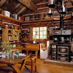 Rustic cabin kitchens log home kitchen small rustic log cabin Log Cabin Living, Log Cabin Homes, Log Cabins, Rustic Cabins, Small Log Cabin, Rustic Cottage, Cozy Cabin, Cottage Living, Country Living