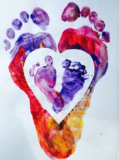 Baby feet inside mommy feet. Mother's Day gift. Heart shaped cut out. Foot prints with finger paint. Baby foot print.