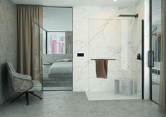 Avec Select+, Hüppe optimise l'espace douche Furniture, Shower Enclosure, Home Decor, Minimalist Design, Adjustable Mirror, Wall Design, Attic Apartment, Neat And Tidy, Wall Unit