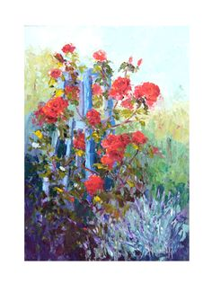 How nice is June in the garden. A contemporary oil painting of beautiful red roses growing in my garden, painted with a palette knife. The garden is filled with the scent of the roses. The palette knife gives adds texture can be shown in the close up photos. An ideal gift for gardeners, flower arrangers or just flower lovers (and who isnt?).  Summer Scent, Garden Art by Marion Hedger 24 x 30 cm (approx 10 x 12) oil on 3mm thick MDF canvas board  This is a new painting and will be ready to…