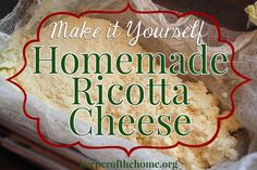 Ricotta cheese is pricey at the store! Plus it can contain food additives. Avoid both by making homemade ricotta cheese.