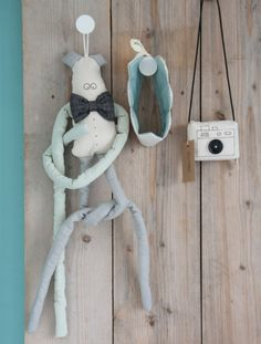 Lange leo mint zwart. Toy made with vintage fabrics by suussies at www.indie-ish.nl