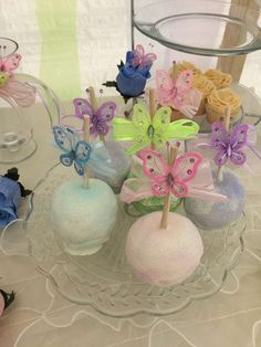 Pretty candy apples at a butterfly birthday party! See more party planning ideas at CatchMyParty.com!