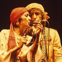 Joan Baez & Bob Dylan during the Rolling Thunder Revue in 1976.                                                                                                                                                                                 More