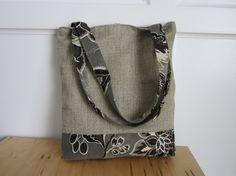 black tote bag brown purse floral handbag by BerkshireCollections