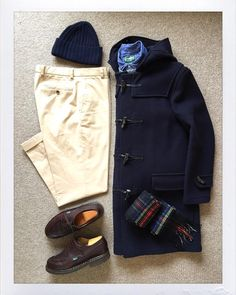 Today's Outfit. #Gloverall Original 512 Duffle Coat #RalphLauren Cashmere Sweater #GitmanVintage Denim BD-Shirt #Inverallan Wool Knit Cap #Johnstons Cashmere Scarf #BrooksBrothers Chino...
