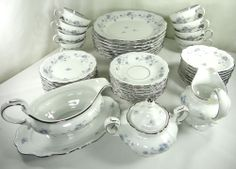 Johann Haviland Bavaria Blue Garland Fine China Silver Trim 44 Piece Serves 8!!! $120