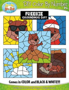 "Groundhog Activities: FREE Groundhog Day ""Create Your Own Color By Number"" worksheets, Clip art Set. Groundhog Day Activities, Winter Activities, Digital Paper Freebie, Color By Numbers, Math Facts, Classic Literature, Teacher Hacks, Matching Games, Art Education"