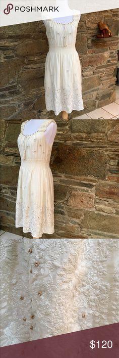 "NEW romantic summer dress from Sundance Beautiful, sleeveless sundress NWOT from Sundance catalog. Embroidered 70% cotton/30% silk. Fitted, elastic waistband, scoop neck. Peasant style bodice with drawstring and keyhole. 42"" shoulder to hem. Sundance Dresses Midi"
