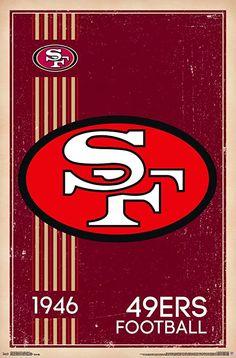 Trends International NFL San Francisco - Retro Logo Wall Poster, x Barnwood Framed Version Nascar, Jerseys Nfl, Football Team Logos, Football Posters, Football Memorabilia, Sport Football, Nike Basketball, Football Season, Nfl 49ers