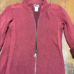 RUFF HEWN rust color zippered cardigan sweater S This is a rust colored zippered cardigan sweater jacket. It is size small. 100% Cotton. Very nice used condition. Sweaters Cardigans