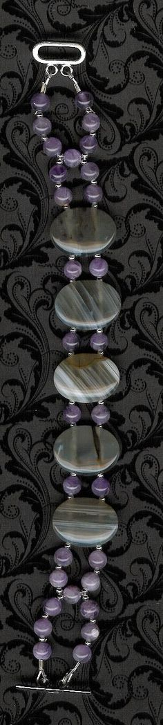 Bracelet  Mexican Agate Amethyst Sterling Silver by ChicStatements, $32.00