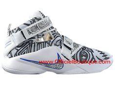 e11ef85cb01a Chaussure de Basket-ball Pas Cher Pour Homme Nike LeBron Soldier 9 IX  Blanc Gris