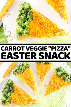 """Easy-to-make carrot veggie """"pizza"""" bars are a perfect snack for the kids this Easter. Easter Snacks, Easter Recipes, Appetizer Recipes, Easter Ideas, Easy To Make Snacks, Food To Make, Spring Recipes, Holiday Recipes, Veggie Pizza"""