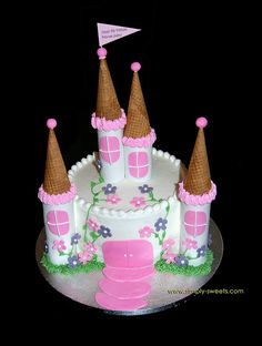 Castle cake. Like the white base with pink accents. One circle, for spires, easy design?