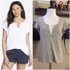 Nordstrom's Grey Stem Split Neck Tee Nordstrom's Grey Stem Split Neck Tee »→ s »→ can fit xs-s »→ cotton »→ photo for fit reference actual tee is grey »→ split neckline, like a vneck type »→ preloved but in great condition »→ light wear on hem [pictured] Stem Tops Tees - Short Sleeve