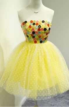 Yellow A-Line Strapless Button Short Homecoming   cutedressy Homecoming Dresses Long, Formal Dresses, Color Trends, Dress For You, Different Fabrics, Perfect Fit, Designer Dresses, Custom Made, Party Dress
