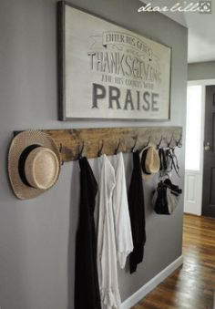Jason's Full House Tour (Lots of Before and Afters) by Dear Lillie. I love this long and rustic coat rack! Would be perfect in a farmhouse entryway or near a mudroom. Dear Lillie, Diy Casa, Coat Hanger, Coat Racks, Wall Coat Rack, Coat Hooks On Wall, Diy Coat Rack, Rustic Coat Rack, Coat Hooks Hallway