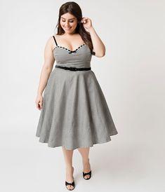 de57e309dc28 Micheline Pitt For Unique Vintage Plus Size 1950s Style Black   White  Gingham Belle Swing Dress