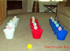 I made 3 sets, as I plan to use them relay team style. Each student on the team will toss a tennis ball into the marked buckets. At the end of each round teams will total their point value using white boards.  This would also be a great summer party game too.