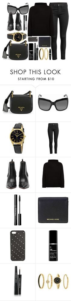 """Favorite Combo"" by jomashop ❤ liked on Polyvore featuring Prada, Christian Dior, Seiko, Jaeger, Michael Kors, Dolce&Gabbana, Anne Klein, Max Factor, gold and black"