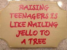 Raising teenagers handmade sign