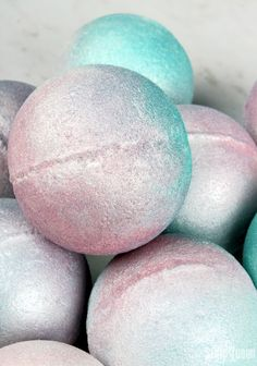 These Pearl Bath Bombs are full of pearly shimmer, and feature a light rose scent. Shea butter makes them feel amazing in the tub!