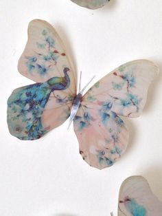 Butterflies Blue Cream Peacock Dragonfly Butterfly Decals Hand Made Gift Tropical Flower Tattoos, Tropical Flowers, Butterfly Wall Art, Butterfly Print, Fabric Flower Tutorial, Fabric Flowers, Girls Room Wall Decor, Beautiful Nature Pictures, Dragon Pictures