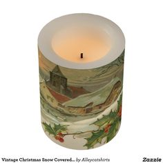 Vintage Christmas Snow Covered Town Flameless Candle