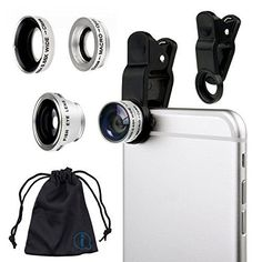 Silver Clip On 180 Degrees Portable 3 in 1 Camera Lens Kit  FishEye  Wide Angle  Macro for Celkon S1 * Check out this great product.