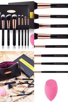 8-teiliges, professionelles Luxus-Make-up-Pinselset, Beauty-Blender und Luxus-Clutch-Kosmetiktasche in einer wunderschönen Geschenkbox Clutch, Beauty Blender, Eyeshadow, Make Up, Lipstick, Luxury, Bags, Nice Asses, Makeup Sponge