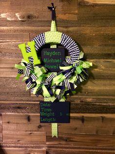 Hospital Door Hanger, baby boy lime/navy wreath, hospital door ribbon wreath, birth announcement