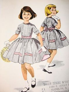 1950s McCALLS 4540 PATTERN GIRLS DRESS, DOUBLE ATTACHED PETTICOAT, CUTE STYLE