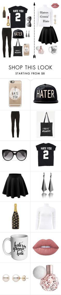 """""""Haters gonna' hate"""" by gracelovesanimals ❤ liked on Polyvore featuring Casetify, Yves Saint Laurent, Alexander McQueen, LE3NO, Marc Jacobs, Michael Kors and Lime Crime"""