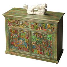 Artifacts Console Cabinet in Water Colors | Nebraska Furniture Mart