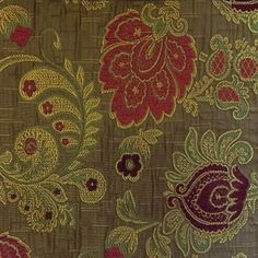 FLORAL KINGDOM CHENILLE UPHOLSTERY FABRIC Toast BY YARD DRAPERY HOME DECOR