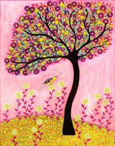 Tree Art Print Blush Tree Painting Mixed Media Art 16 by Sascalia
