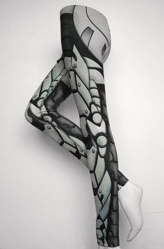 Bionic Leggings - Size XXXL Light Grey - Printed Metal Robot Tights